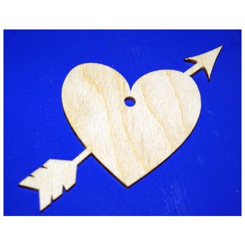 Фото - Заготовка из дерева Подвеска. Сердечко со стрелой, 10 см scb271028 металлическая подвеска сердечко белая ножка 9 см сердечко 5 3 см scrapberry s