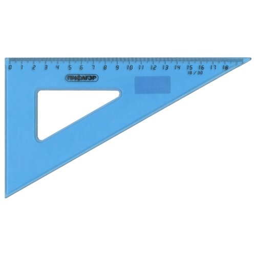 Купить Пифагор Угольник 30° 18 см (210618) прозрачный/голубой, Чертежные инструменты