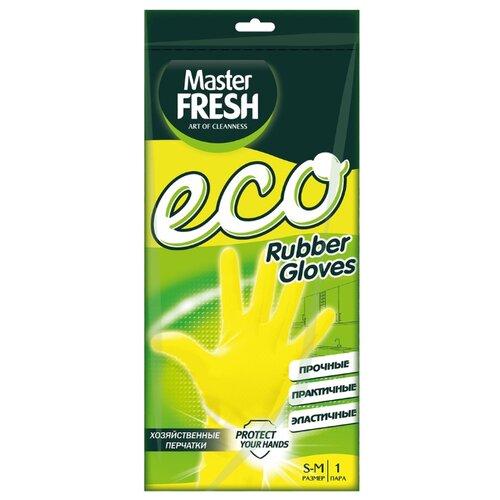 перчатки гелевые с бинтом everlast duster evergel цвет желтый длина бинта 150 см размер s m Перчатки Master FRESH ЭКО хозяйственные, 1 пара, размер S/M, цвет желтый
