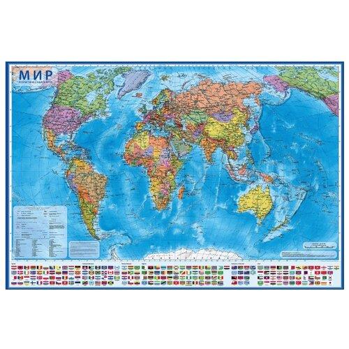 Globen Интерактивная карта Мир Политический 1:28 в тубусе (КН046)