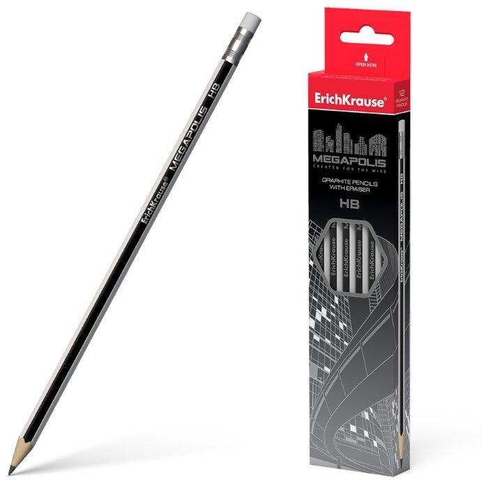 ErichKrause Набор чернографитных шестигранных карандашей с ластиком Megapolis HB 12 шт (32860)