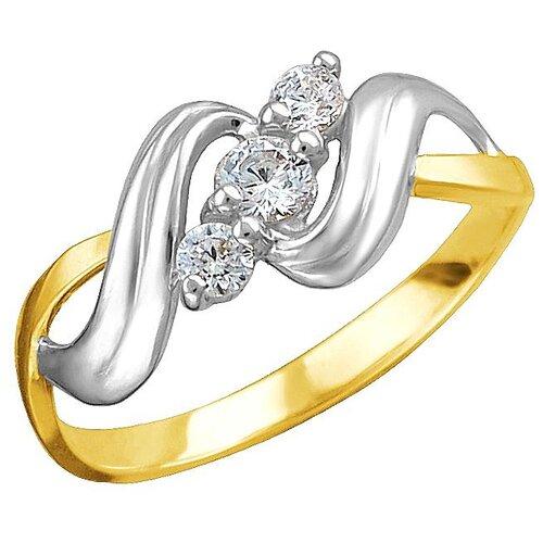 Эстет Кольцо с 3 фианитами из жёлтого золота 01К1312307Р, размер 18