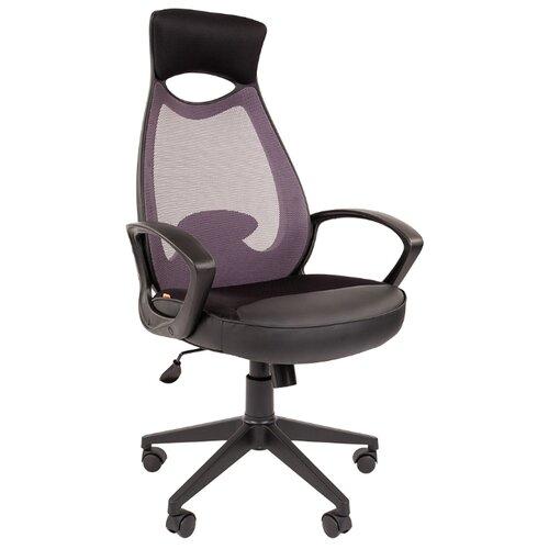 Компьютерное кресло Chairman 840 для руководителя, обивка: текстиль/искусственная кожа, цвет: black/серый