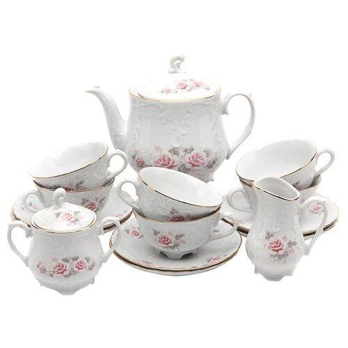 цена на Чайный сервиз Cmielow Rococo (Серая роза) 15 предметов