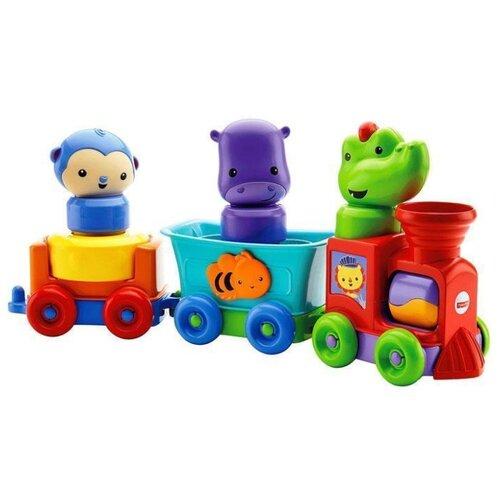 Купить Развивающая игрушка Fisher-Price Обучающий поезд Друзья-животные (DMC44) красный/зеленый/синий, Развивающие игрушки