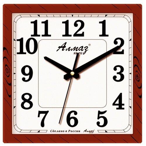 Фото - Часы настенные кварцевые Алмаз K33 коричневый часы настенные кварцевые алмаз a87 коричневый белый