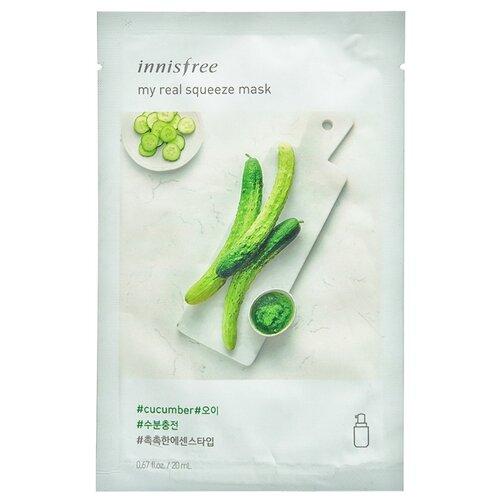 Innisfree тканевая маска My real squeeze mask-cucumber с соком огурца, 20 мл