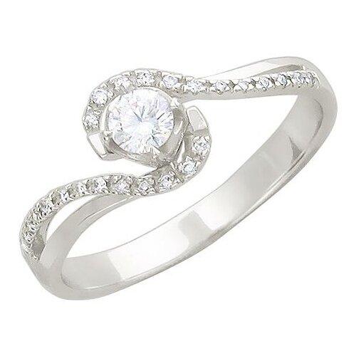 Эстет Кольцо с бриллиантом из белого золота 01К625752, размер 18