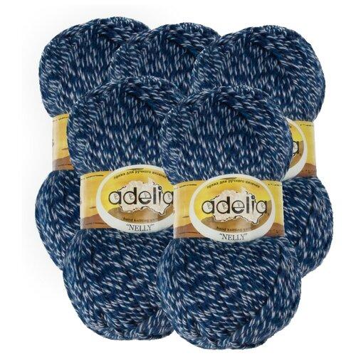 Купить Пряжа Adelia Nelly мелажевая, 70 % шерсть, 30 % акрил, 100 г, 100 м, 5 шт., №14 т.синий