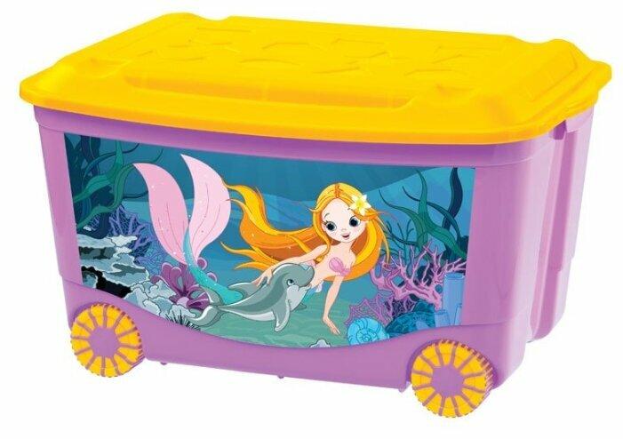 Бытпласт Ящик для игрушек на колесах с аппликацией Зеленый