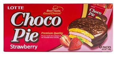 Печенье покрытое шоколадом Чоко Пай со вкусом клубники, 168 г