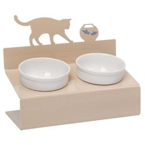 Миска АртМиска для кошек двойная Кот и рыбы на подставке XS 0.35 л кремовыйМиски, кормушки и поилки<br>