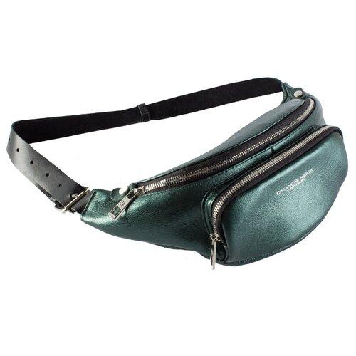 Сумка поясная Dimanche, натуральная кожа, зеленый металлик сумка поясная dimanche натуральная кожа красный
