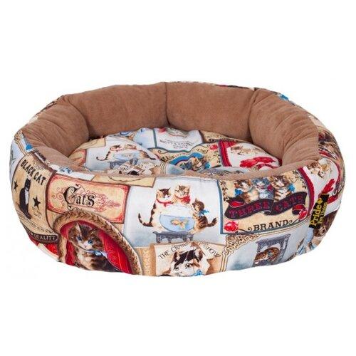 Лежак для кошек PRIDE Ватрушка Кэт Таймс (10011260) 45х45х12 см голубой/бежевый/красныйЛежаки, домики, спальные места<br>
