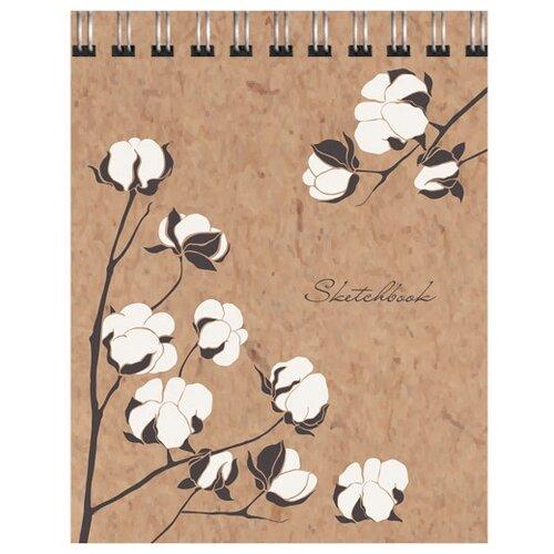 Купить Скетчбук Канц-Эксмо Цветы хлопка 12.5 х 16 см, 100 г/м², 80 л., Альбомы для рисования