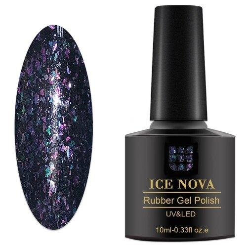 Купить Гель-лак для ногтей ICE NOVA Rubber Gel Polish Павлиний хвост, 10 мл, оттенок 04 графитово-фиолетовый