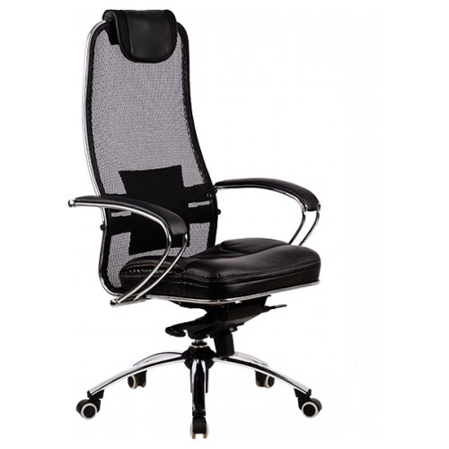 Компьютерное кресло Метта SAMURAI SL-1 для руководителя, обивка: текстиль/искусственная кожа, цвет: черный компьютерное кресло метта bp 2 pl офисное обивка натуральная кожа цвет 721 черный