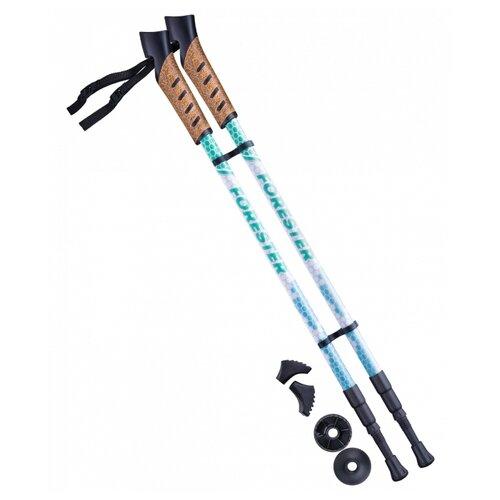 Палки для скандинавской ходьбы со сменными комплектующими BERGER Forester 3-секционная 67-135 см белый/мятный