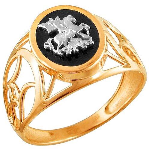 Эстет Кольцо с 1 ониксом из комбинированного золота 01Т4611720-1, размер 20 ЭСТЕТ