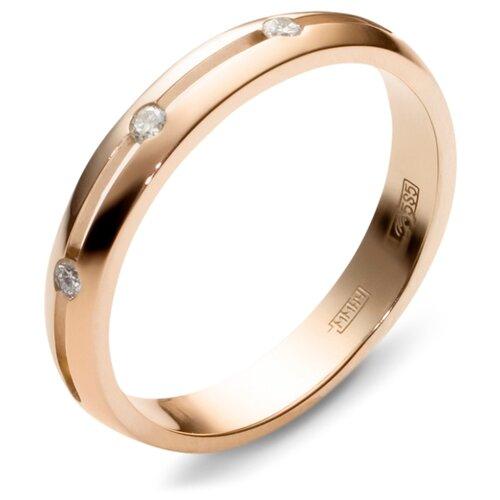 Эстет Кольцо с 3 бриллиантами из комбинированного золота 01О660062, размер 19.5