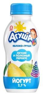 Йогурт питьевой Агуша детский яблоко, груша (с 8-ми месяцев) 2.7%, 200 г