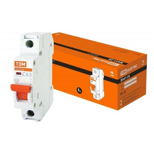 Автоматический выключатель TDM ЕLECTRIC ВА 47-29 1P (C) 4,5kA 63 А выключатель автоматический однополюсный 6а c 4 5ka ва 47 63 ekf proxima