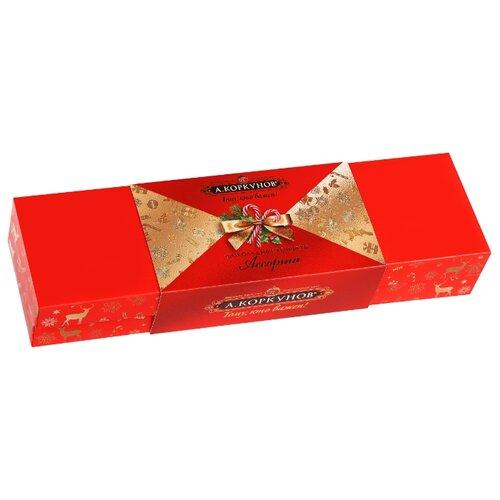 Набор конфет Коркунов Шкатулка молочный и горький шоколад 256 г красный/золотистый