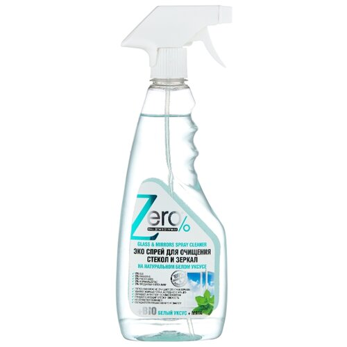 Спрей Zero% для очищения стекол и зеркал на натуральном белом уксусе + мята 420 мл