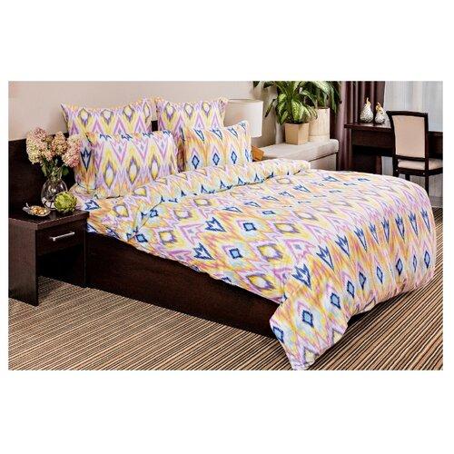 Постельное белье 2-спальное с евро простыней Ночь Нежна Икат 70 х 70 см сатин желтый/розовый/синийКомплекты<br>