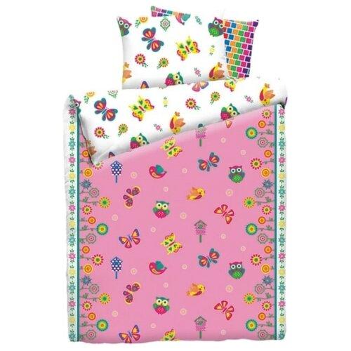 Постельное белье 1.5-спальное Mona Liza Kids Бабочки, бязь розовый/белый мона лиза постельное белье семейный mona liza mozaika