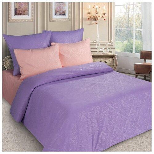 Постельное белье евростандарт Letto PS135, полисатин, 70 х 70 см персиковый/фиолетовый