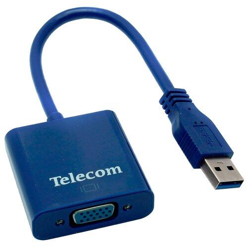 Переходник Telecom USB - VGA (TA710) 0.2 м синий