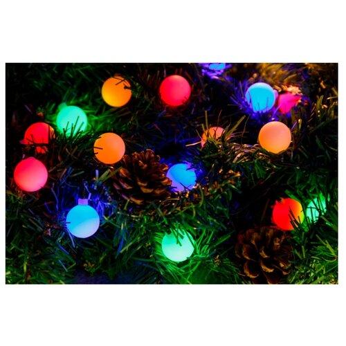 Гирлянда NEON-NIGHT Шарики, 25 LED, 500 см, 25 ламп, разноцветный/зеленый провод гирлянда neon night колокольчики 20 led 280 см 20 ламп разноцветный зеленый провод