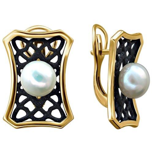 Эстет Серебряные серьги с жемчугом, эмаль С20С35838Y1BЭП