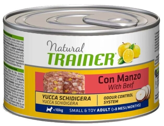 Корм для собак TRAINER Natural Adult Small&Toy Beef canned