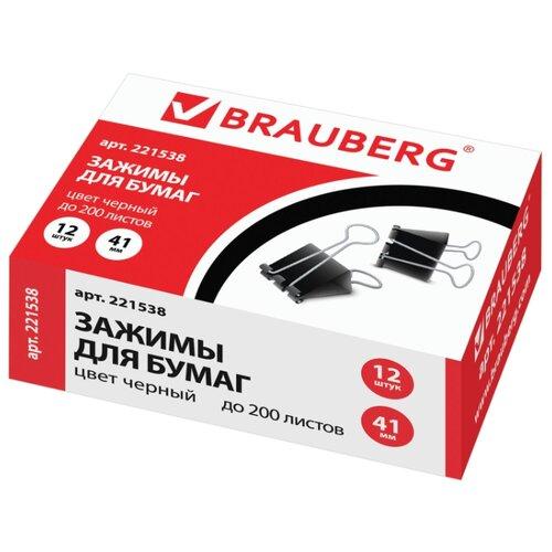Купить BRAUBERG Зажимы для бумаг 221538 41 мм (12 шт.) черный, Скрепки, кнопки