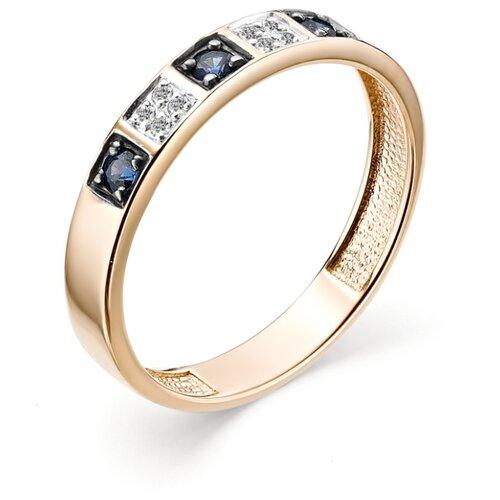 АЛЬКОР Кольцо с сапфирами и бриллиантами из красного золота 12842-102, размер 16.5