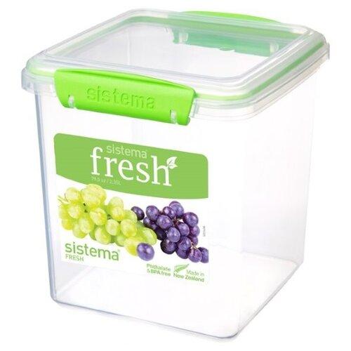 контейнер для печенья sistema 1 8 л 1333 Sistema Контейнер для печенья Fresh 921334/951334, 14.9x15.4 см, зеленый/прозрачный