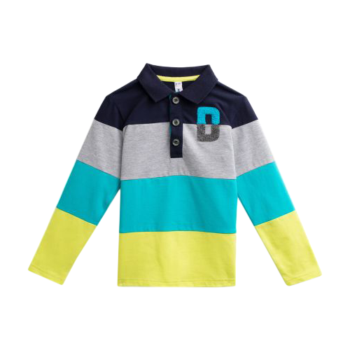 Поло playToday размер 116, синий/серый/желтыйФутболки и майки<br>
