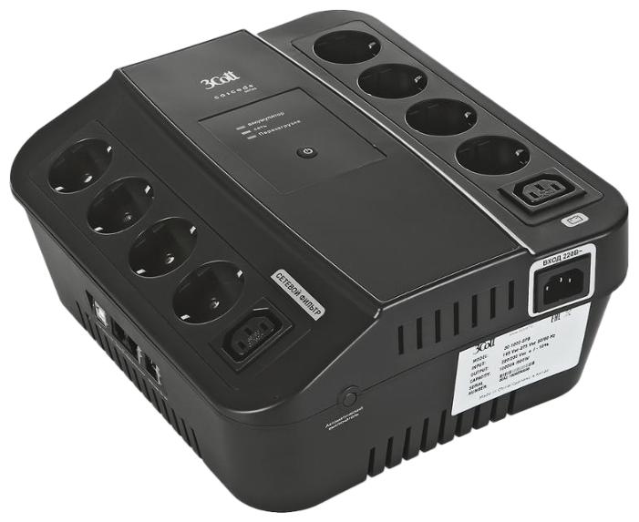ИБП 3Cott 3C-1000-SPB, Cascade Series, 1000 ВА / 600 Вт, линейно-интерактивный, управляемый, 3-х ступенчатый AVR, выходы: 8 евро-розетки + 2 IEC