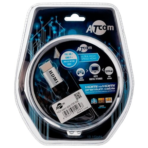 Кабель Atcom High speed HDMI - HDMI 1 м серебристый/черный