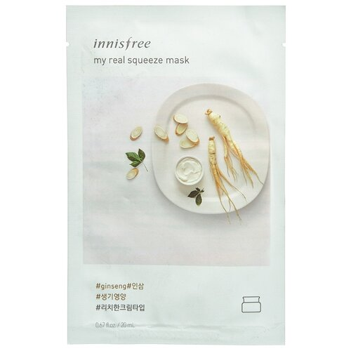 Innisfree тканевая маска My real squeeze mask- ginseng с экстрактом женьшеня, 20 мл