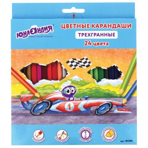 Юнландия Карандаши цветные трехгранные 24 цвета (181390), Цветные карандаши  - купить со скидкой