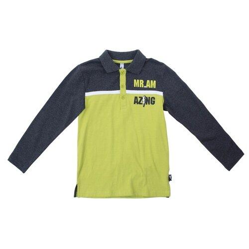 Поло playToday, размер 104, серый/зеленый
