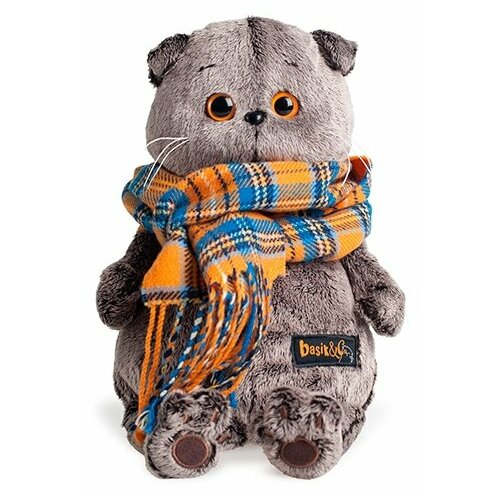 Мягкая игрушка Basik&Co Кот Басик в оранжевом клетчатом шарфе 30 см