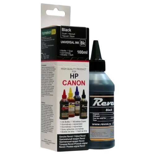 revcol к r hcl 0 1 bd black чернила для принтеров hp canon 100 мл Чернила Revcol 128793 для Canon и HP, Black, Dye, 100 мл