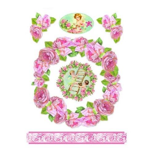 Купить Бумага рисовая мини - формат Ангелы и розы 21 х 29, 7 см (A4) 1 лист, Stamperia, Карты, салфетки, бумага