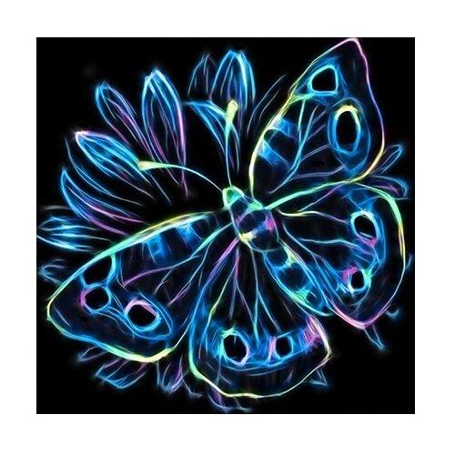 Алмазная живопись Набор алмазной вышивки Неоновая бабочка (АЖ-1713) 25х25 смАлмазная вышивка<br>