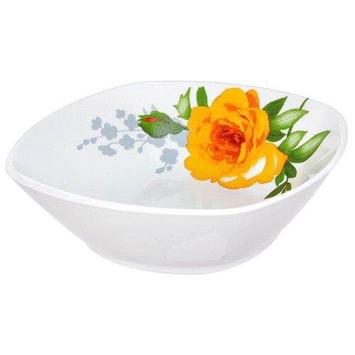 Дулёвский фарфор Салатник квадратный Роза без отводки 300 мл белый/желтый/зеленый