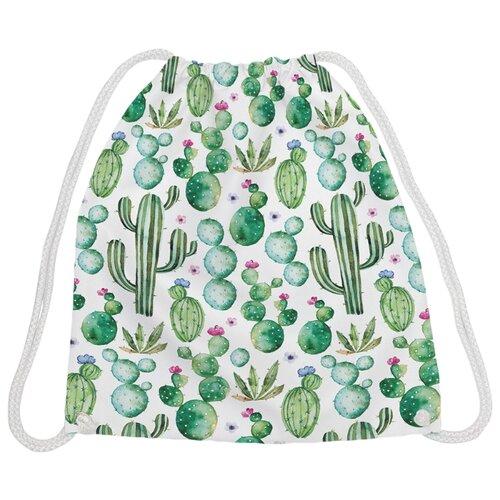 Купить JoyArty Рюкзак-мешок Кактус акварелью (bpa_30774) белый/зеленый, Мешки для обуви и формы